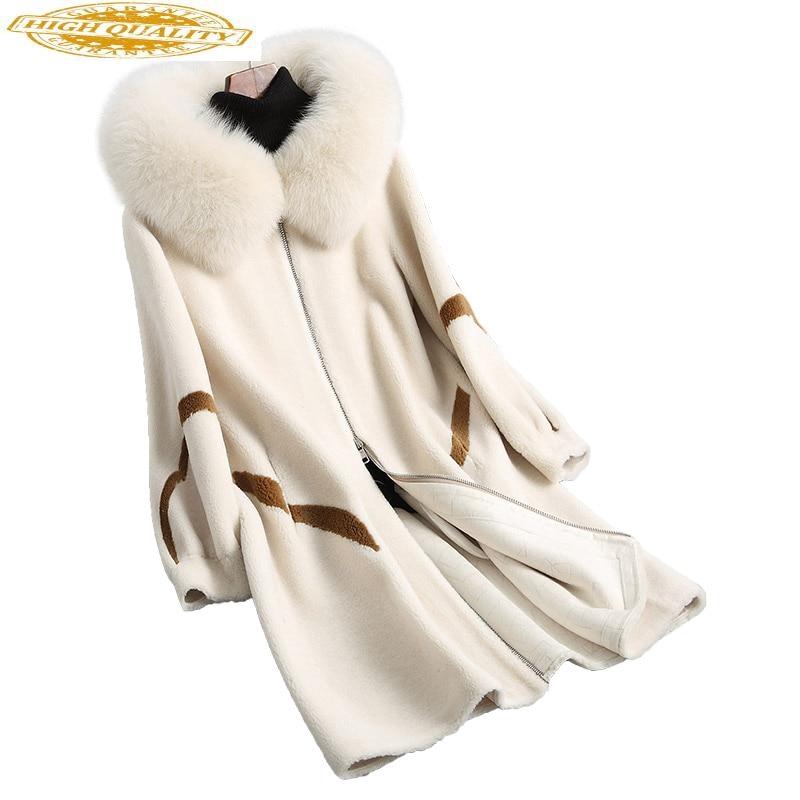 Real Wool Fur Coat Female Natual Fox Fur Collar Hooded 2020 Sheep Shearing Coats Long Winter Jacket Women 18114 WYQ1985