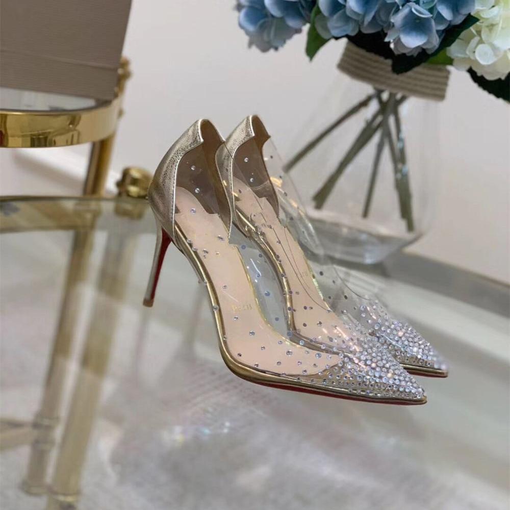 Red Sole Crystal Bling Medium/High/Lower Thin Heels Pumps Lady Party Wedding Spring Autumn Rhinestone 6.5/8.5 /10 CM Woman Shoes