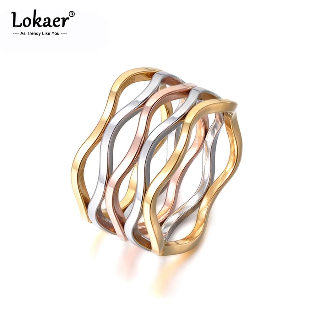 Lokaer Delicate Jewelry Multicolor Wave Shape Multilayer Titanium Steel Engagement Wedding Ring For Women Bague Femme R17055