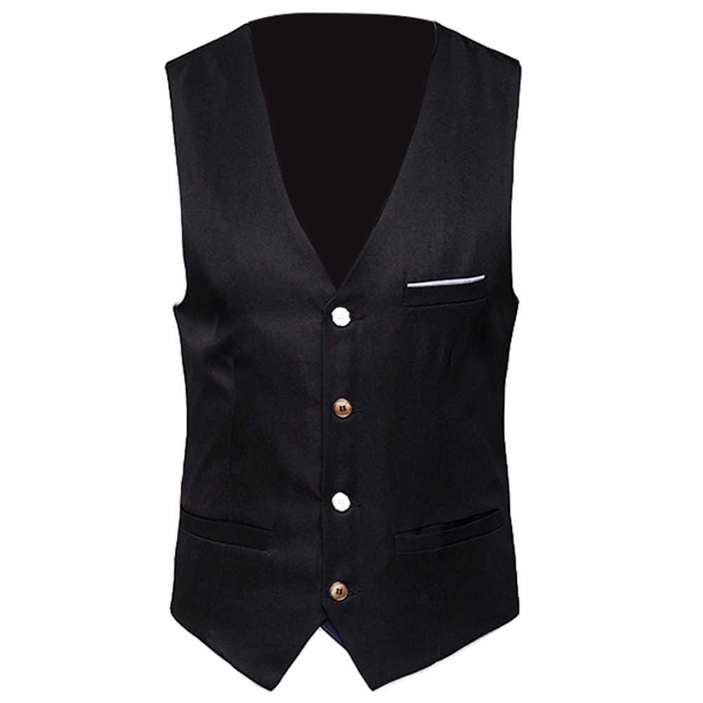 2019 nowych mężczyzna klasyczny formalny biznes Plus rozmiar mężczyźni solidny kolor garnitur kamizelka pojedyncze piersi biznesowa kamizelka Tuxedo kamizelka