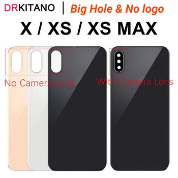 Dla iPhone X XS MAX tylny Panel szklany pokrywa baterii obudowa tylnej obudowy + obiektyw aparatu dla iPhone XS wymiana szkła tylnego tanie i dobre opinie DRKITANO CN (pochodzenie) Glass For iPhone X S XS MAX XSmax Apple iPhone IPHONE XS MAX Black White Gold Big Hole No logo