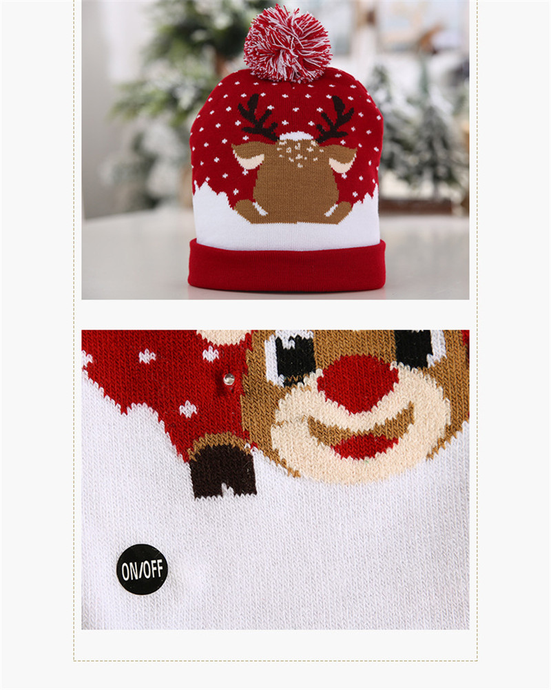 H425488fd7b954211aef8d3ad82eecda60 - LED Light Christmas Hats Beanie Sweater knitted Christmas Santa Hat Light Up Knitted Hat for Kid Adult For Christmas Party
