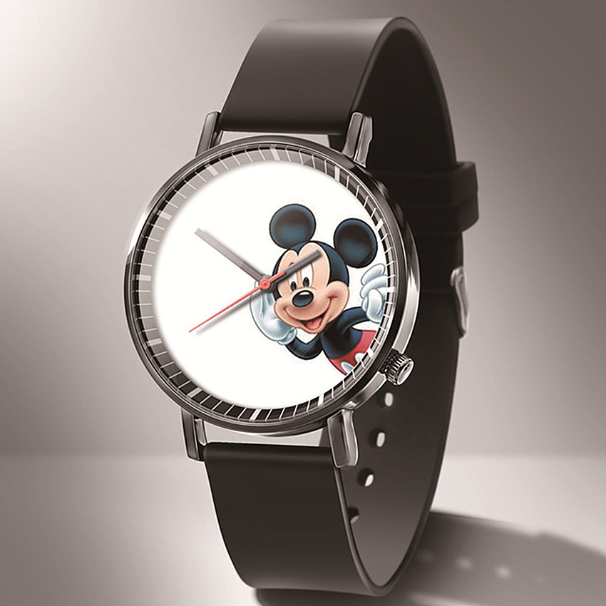 Zegarek Damski 2020 New Cartoon Children Mickey Watch Fashion Ultra-thin Women Watches Black Leather Quartz Watches Reloj Mujer