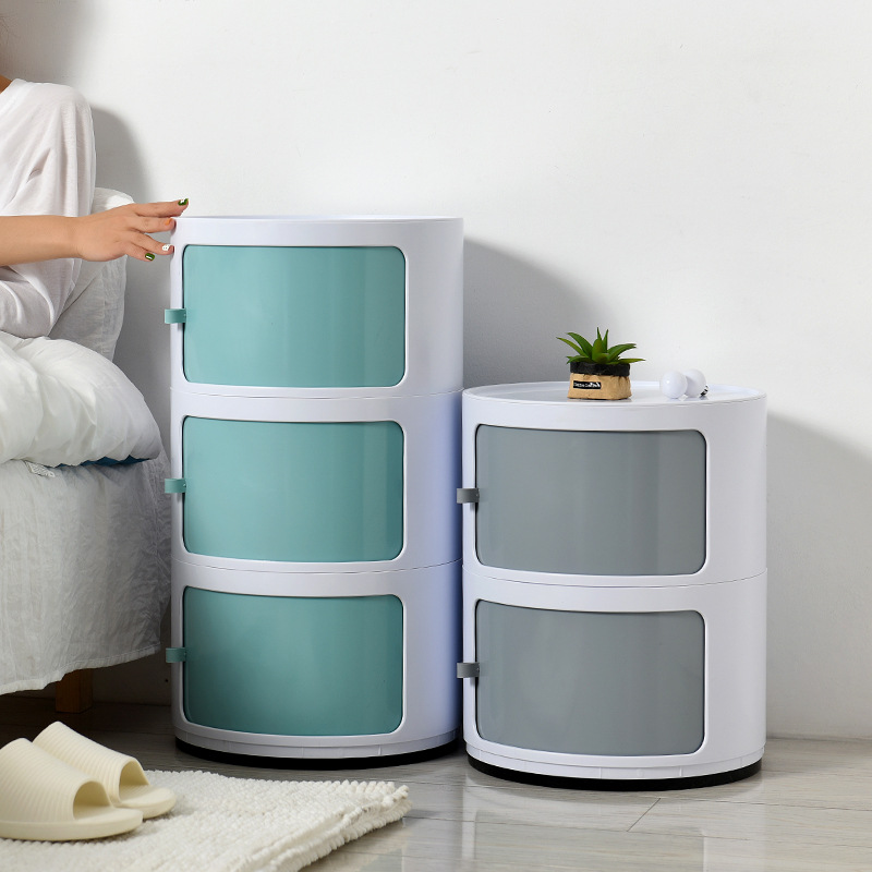 New Mini Locker Circle Table Modern Bedroom Simple Storage Cabinets Small Apartment Plastic Sundries Drawer Organizer PP