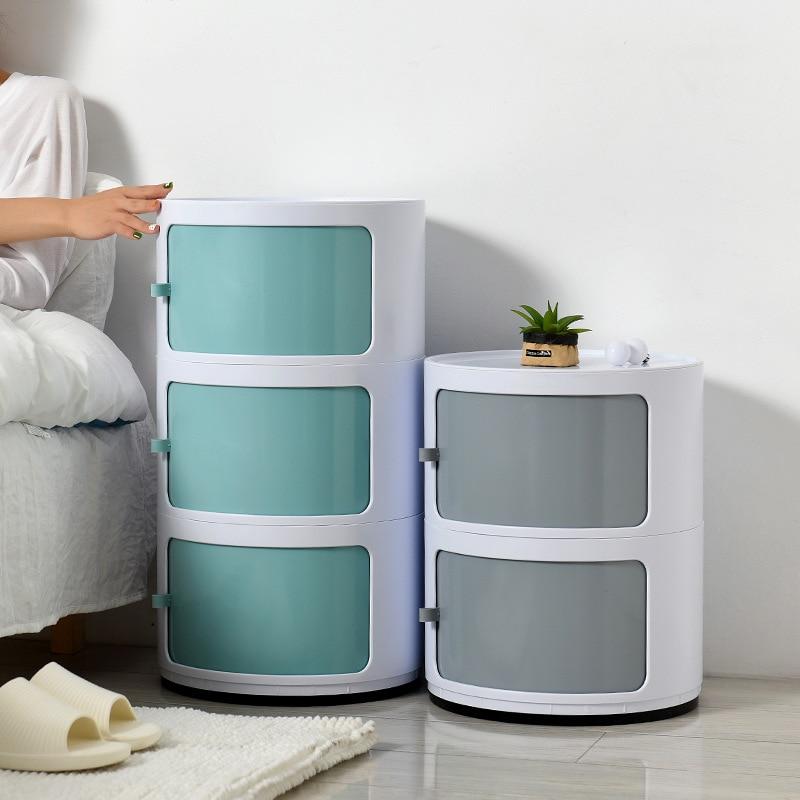 New Mini Locker Circle Table Modern Bedroom Simple Storage Cabinets Small Apartment Plastic Sundries Drawer Organizer PP