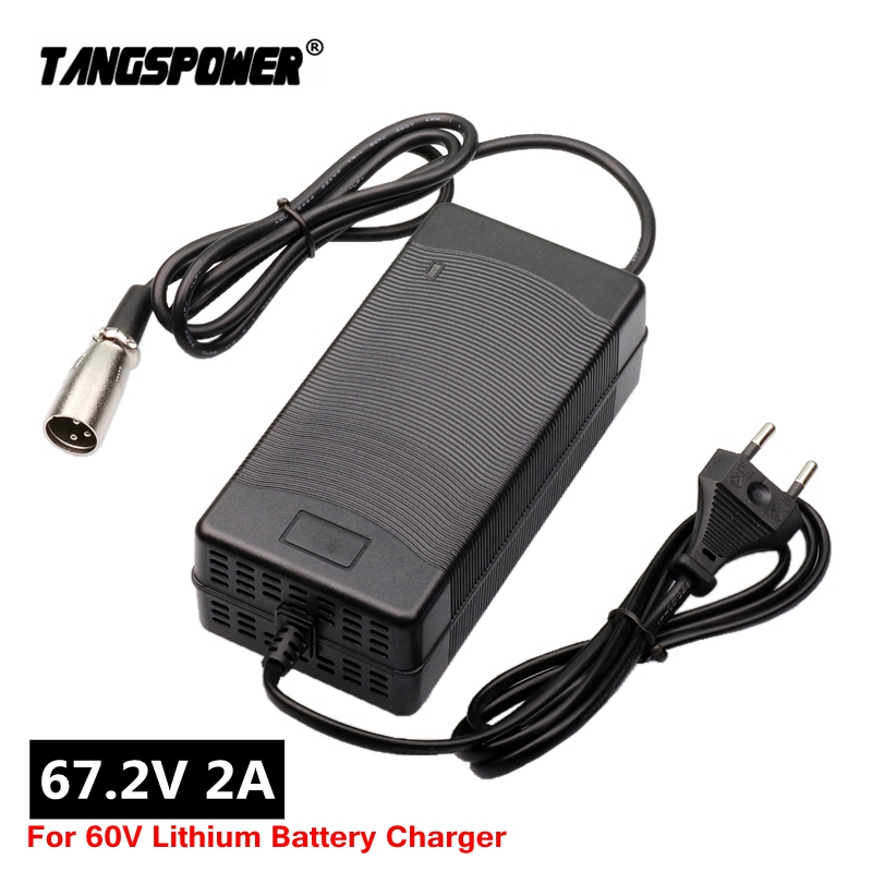67 2V 2A Lithium Battery electric bike Charger for 16Series 60V e-bike Wheelbarrow Electric scooter Charger 3-Pin XLR Plug