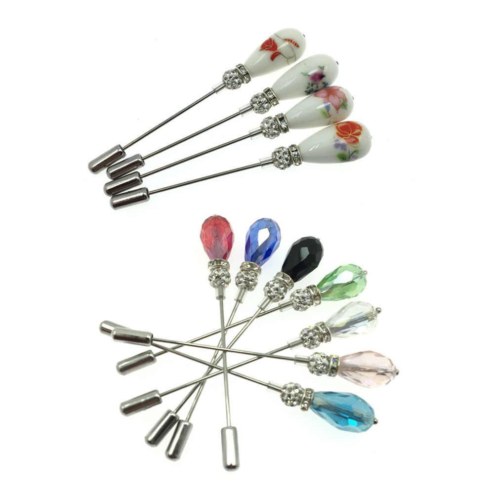 Baru Rhinestone Jilbab Pin Drop Kristal Kristal Muslim Jilbab Bros Pin untuk Wanita Safety Syal Perak Pin