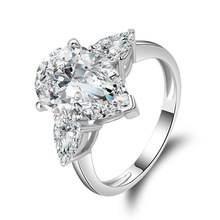 QYI 925 Sterling Silver Engagement Ring 5 Carat Pear Cut SONA Diamond Bridal Rings White Gold Color Women Rings Gift