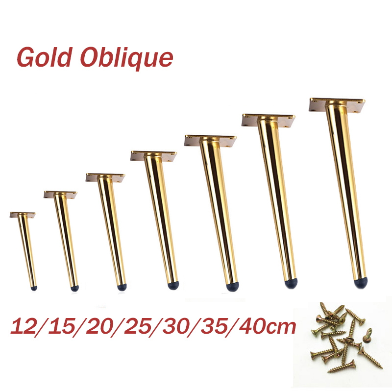 4pcs/2pcs Black Gold Oblique Tapered Furniture Table Legs Metal For TV Cabinet Counter Foot Chair Leg Sofa Tea Coffee Table Foot