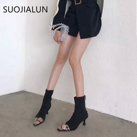 SUOJIALUN Fashion Snake Pattern Women Ankle Boot Slip On Stretch Sock Boots Winte Sexy Pointed Toe High Heels Female Lady Shoes