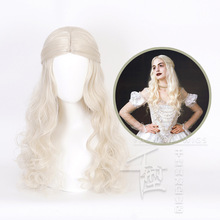 Парик для косплея «Алиса в стране чудес», парик для косплея белой королевы, светлые волнистые Длинные Синтетические волосы, термостойкие волосы, парики для костюмов на Хэллоуин и вечеринку