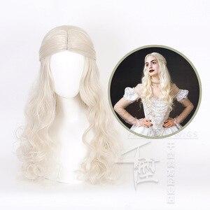 Image 1 - アリスでワンダーランド2白の女王コスかつらブロンド波状ロング人工毛耐熱性繊維ハロウィーンパーティー衣装かつら