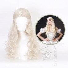 Peluca de Cosplay Alicia en el país de las Maravillas 2 Reina Blanca rubia ondulada pelo sintético largo fibra de calor disfraz de fiesta de Halloween pelucas