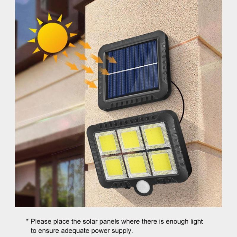 COB 120LED Solar Motion Sensor Wall Light Outdoor Waterproof Garden Lamp Fence Stair Pathway Yard Security Solar LED Wall Lamp