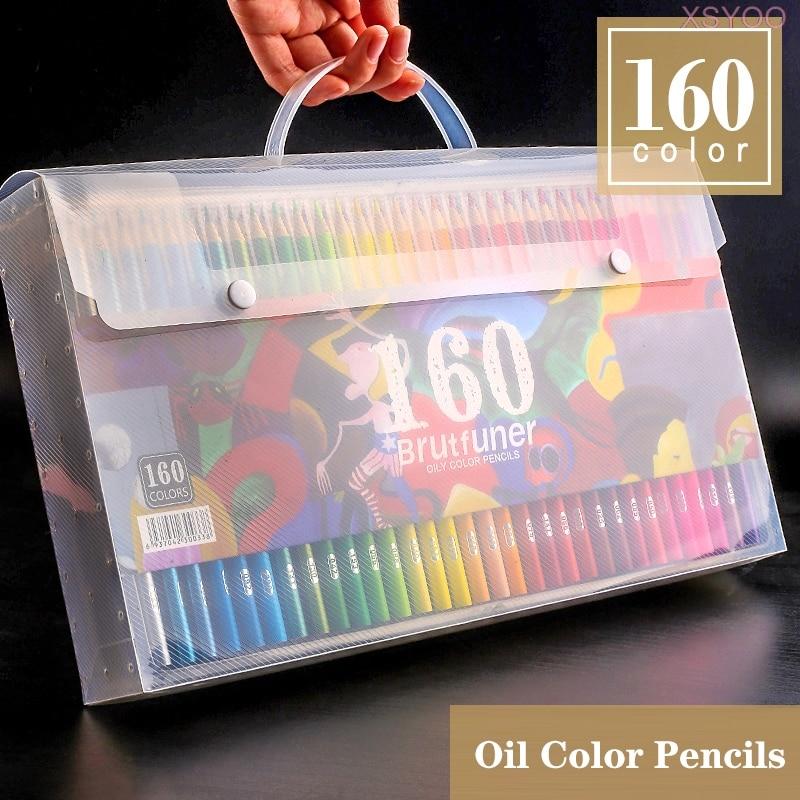 Brutfuner 48/72/120/160/180 цветов деревянные цветные карандаши набор масло HB Рисование эскиз для школьников Подарки товары для рукоделия