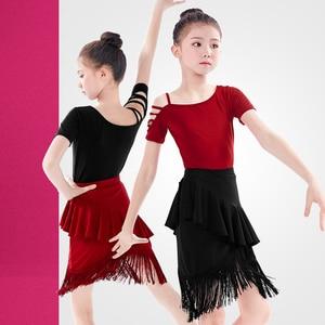 Image 4 - Shoulder Out Latin Dance Fringe Dresses Women Performance Black Red Tango Cha Cha kids Dress for Girls