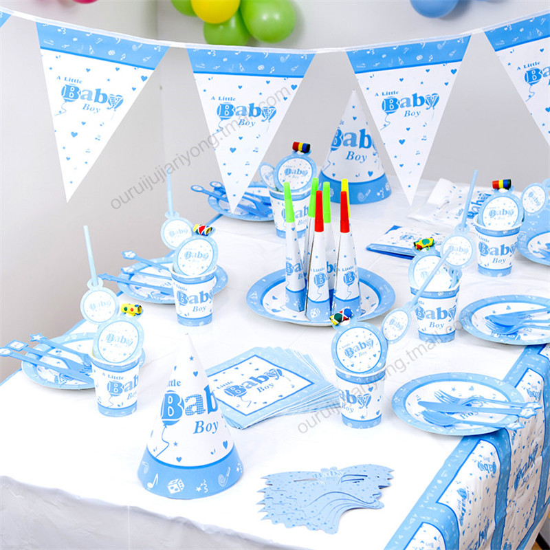 Baby Party Supplies Set 6 People Blue Boy Theme Birthday Party Supplies Set Baby Gift Child Kids Boys Party Supplies Set