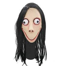 Death Game MOMO Mask No Bang Style SCARY Mask Tern Halloween Female Ghost Wig Mask Big Eye With Long Wig(China)