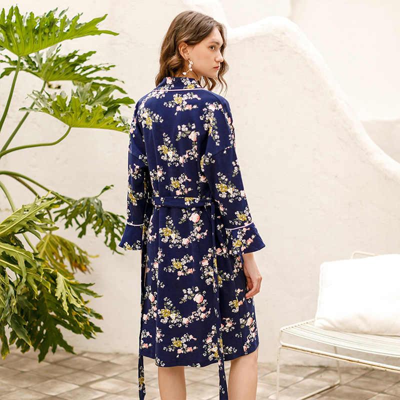 Fenteng Lente Pyjama 2 Stuks Lange Mouwen Nachtjapon & Jas Gedrukt Navy Homewear Casual Nachtkleding Vrouwelijke J98112406