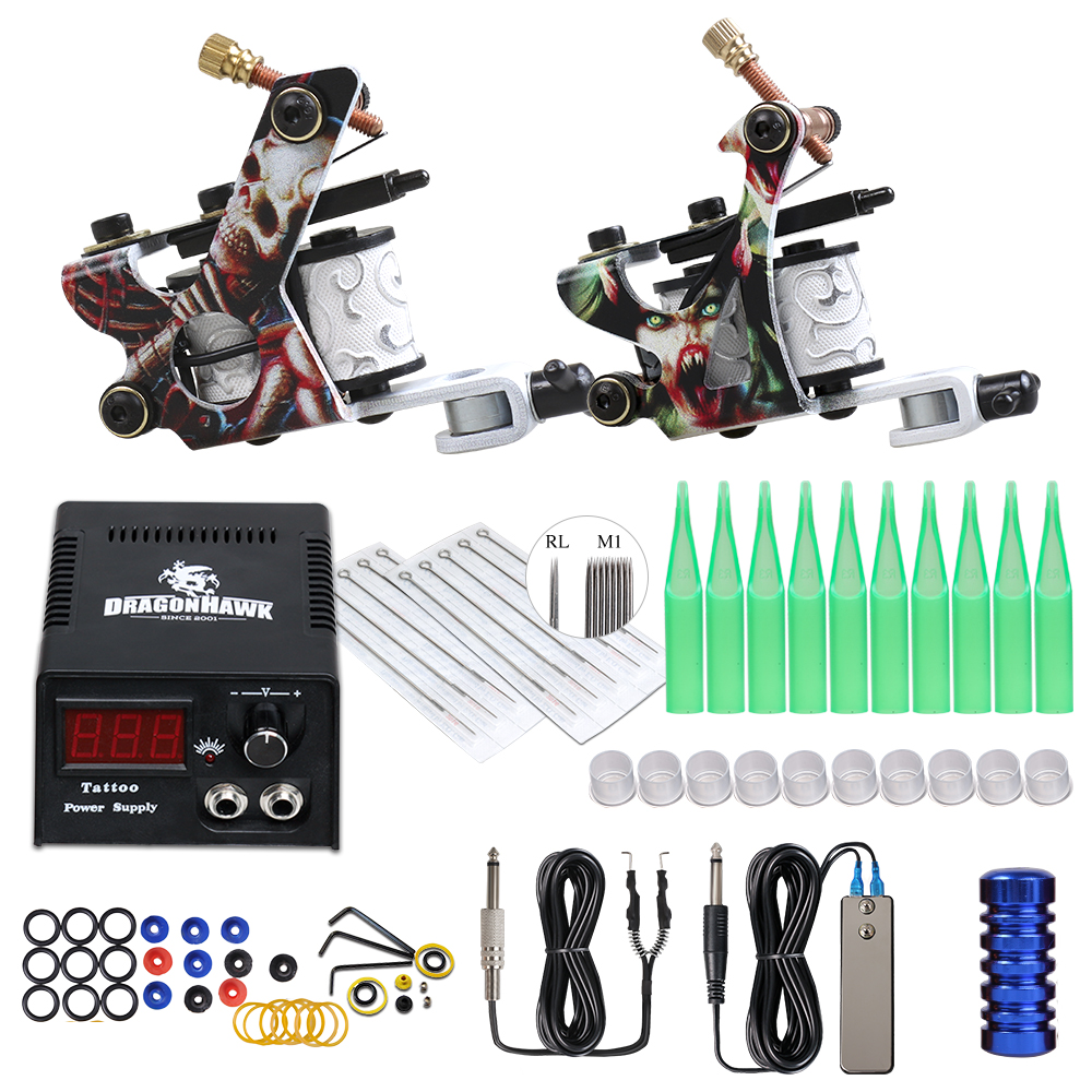 Beginner Complete Tattoo Kit Supplies 2 Machine Guns Power Supply Needles Grip Tip Set