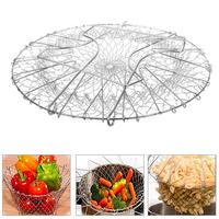 Panier à fruits pliable télescopique en acier inoxydable, filtre, égouttoir, ustensiles de cuisine 3