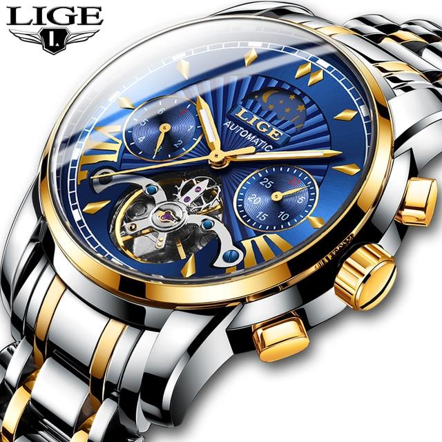 LIGE Men Watch Tourbillon Automatic Mechanical Watch Top Brand Luxury Stainless Steel Sport Watches Mens Relogio Masculino 2019