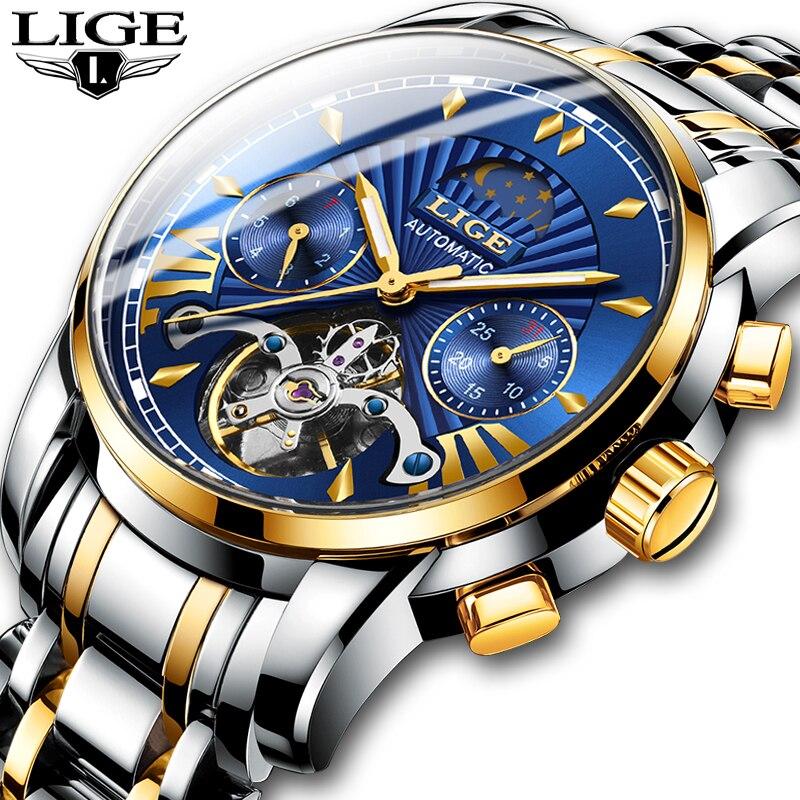 LIGE hommes montre Tourbillon automatique mécanique montre Top marque de luxe en acier inoxydable Sport montres hommes Relogio Masculino 2019