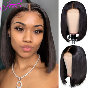 Brazilian Lace Front Closure Wig 4X4 Short Human Hair Bob Wigs Straight Bob Wig Pre Plucked perruque cheveux humain bresiliens(China)