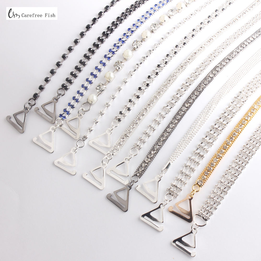Carefree Fish New Silver Plated Metallic Sexy Rhinestone Bra Straps For Women Elegant Crystal Bra Shoulder Lingerie Accessories