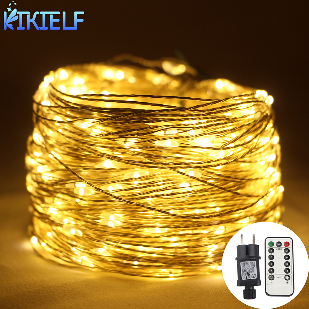 30 50 100m LED String Lights Street Fairy Lights Remote control Waterproof Outdoor Christmas Garden Wedding Party Decoration
