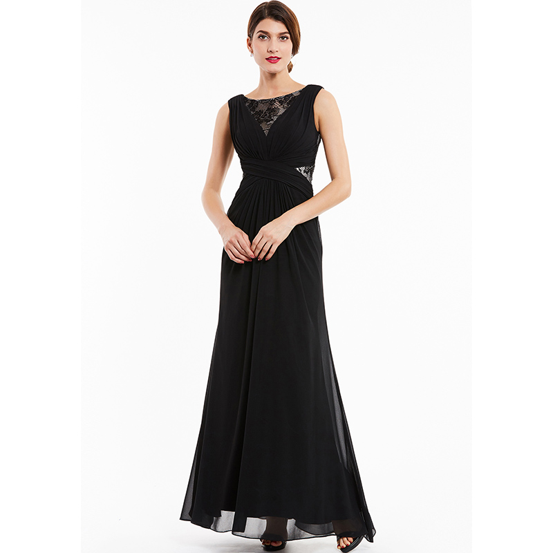 Dressv Black Lace Scoop Neck Long Evening Dress Sleeveless Cheap Wedding Party Formal Dress A Line Evening Dresses