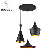 BDBQBL 3 Pieces/Set Vintage Pendant Lights LOFT Lamp Music Nordic Pendant Lamp Suspension Luminaire Home Industrial Lighting(China)