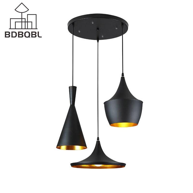 BDBQBL 3 Pieces/Set Vintage Pendant Lights LOFT Lamp Music Nordic Pendant Lamp Suspension Luminaire Home Industrial Lighting