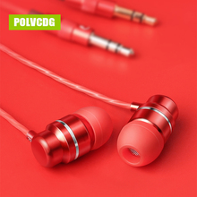 POLVCDG Red In-ear Mic 3.5mm HiFi Noise Reduction G5 Earbuds With Wheat Line Control Sub Woofer Earphones