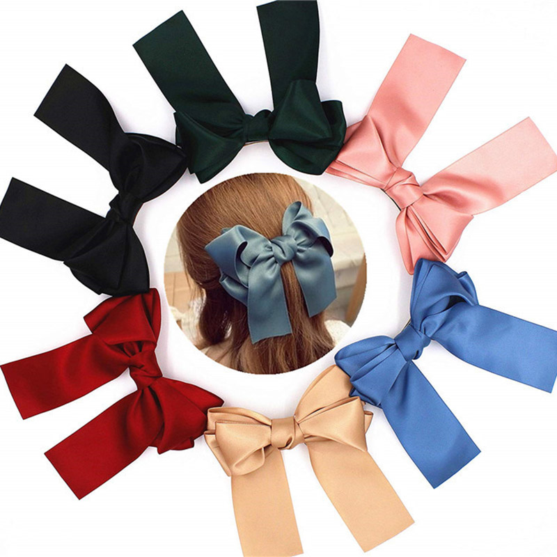 2020 Quality Big Beautiful Girls Silk Bow Barrette Hair Clips Fashion Women Hair Accessorie Headwear Hairpins