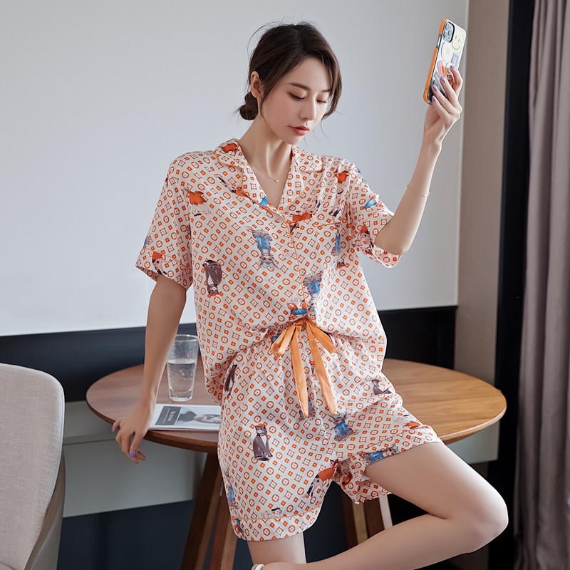 Pajamas Suit Women Casual Nightwear Intimate Lingerie Sexy Pyjamas Nightgown Print Pink Sleepwear Homewear Novelty Negligee|Pajama Sets| - AliExpress