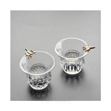 EIN Set Glas Tee Set Zubehör Feine Mesh Tee Trichter Sieb Filter Mit Halter Tee Sieb Tee ei Kaffee Blatt filter