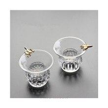 Um conjunto de chá de vidro conjunto acessórios malha fina chá funil filtro com suporte filtro chá filtro infusor chá folha de café filtro