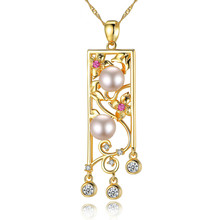 цена Hollow-out Carved Allergy-proof Pure Silver Necklace S925 with AAA Zircon Natural Pearl Lady's Necklace Pendant Jewelry онлайн в 2017 году