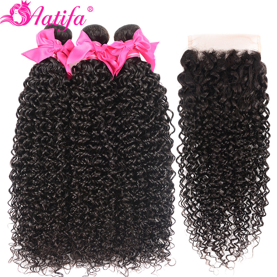 Mongolian Kinky Curly Bundles With Closure Human Hair 3 Bundles With Closure Remy Hair Human Hair