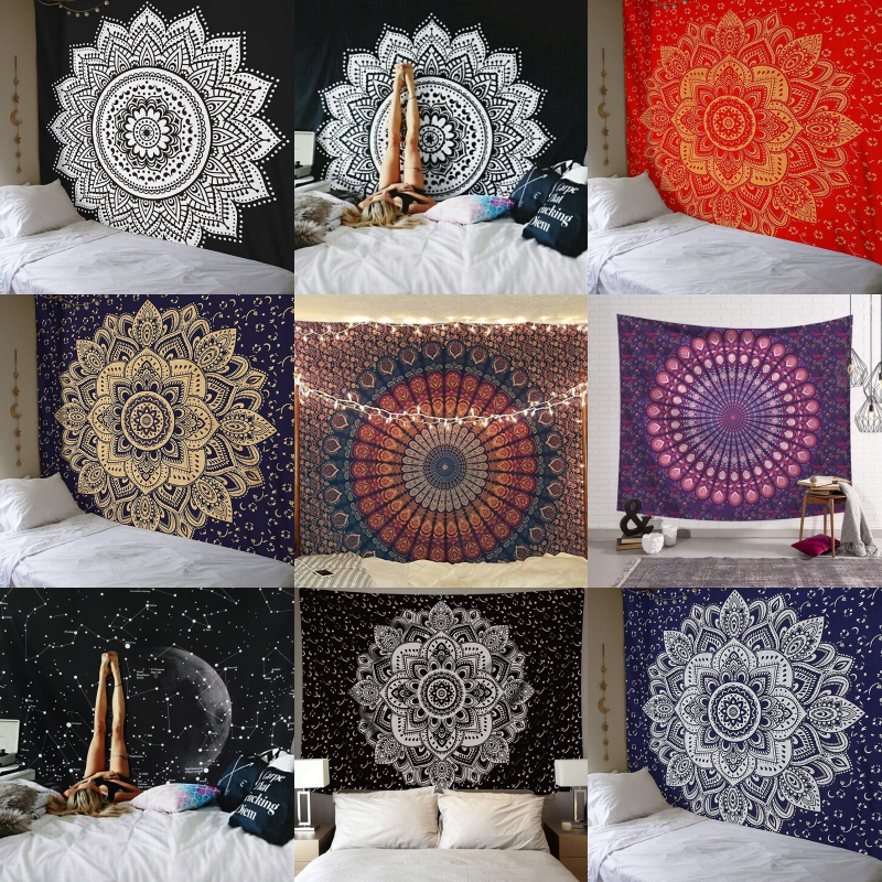 India Mandala Tapestry Wall Hanging Macrame Wall Cloth Tapestries Psychedelic Hippie Night Sky Moon Tapestry Mandala Wall Carpet