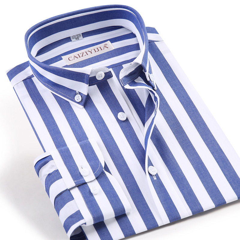 Men's Long Sleeve Standard-fit Blue/white Striped Dress Shirt Wrinkle-Free Casual Button Down Cotton Easy-care Shirts