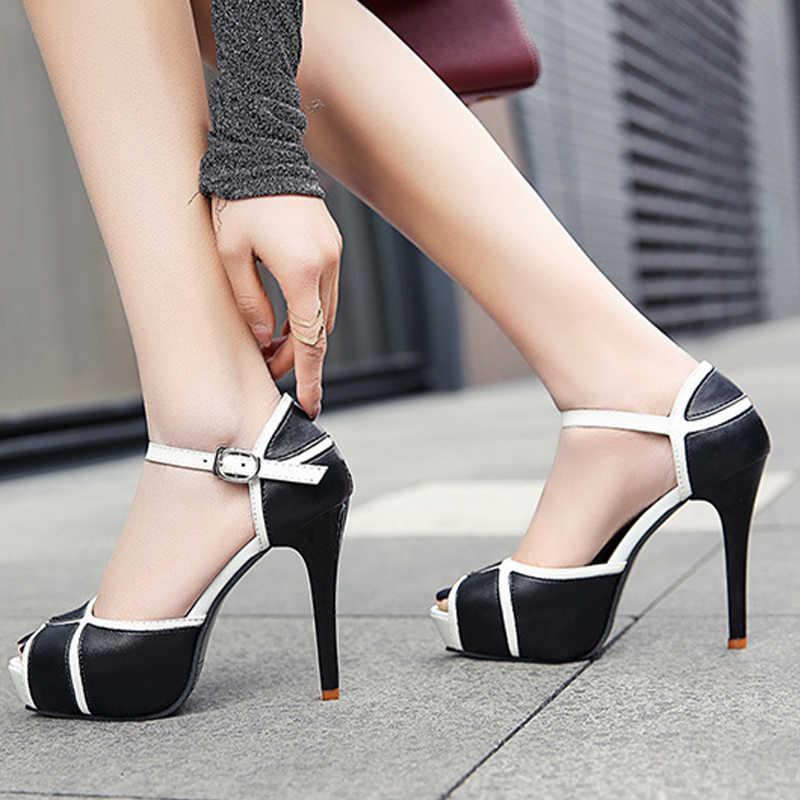 Женские босоножки с пряжкой на лодыжке; женские летние классические туфли на высоком каблуке; элегантные женские Босоножки с открытым носком на платформе и танкетке; большие размеры