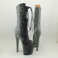 Leecabe 20CM/8Inch Women's Platform disco party snake skin PU upper Pole Dance boot