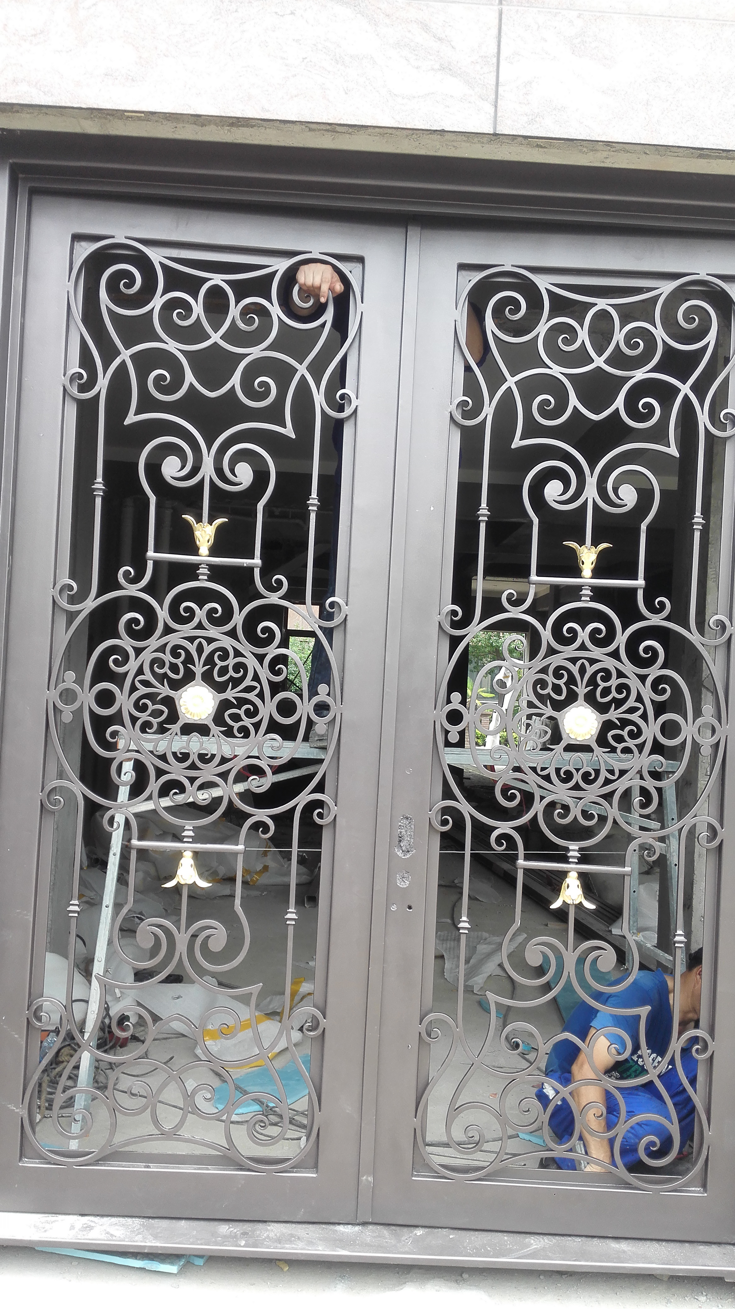 Shanghai Hench Brand China Factory 100% Custom Made Sale Australia Wrought Iron Entry Doors With Sidelights