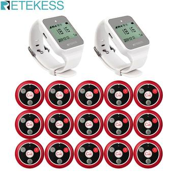 RETEKESS Restaurant Pager Wireless Waiter Calling System 2pcs TD108 Watch Receiver+15 T117 Call Button for Customer Service customer service paging call calling system for pub bars 1pc numeric monitor and 5 call bells