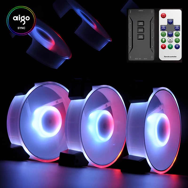 Aigo Intelligente Computer Rgb Fan Pc Case Cooler Cooling 120 Mm Fans Rgb Passen 3P-5V Aura sync Licht Quiet Cpu Cooling Led Fan