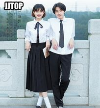 Mannen Japanse Matrozenpakje Schooluniform Sets Jk School Uniformen Meisje Wit Shirt En Geplooide Rok Past Zwart Top Student pak(China)