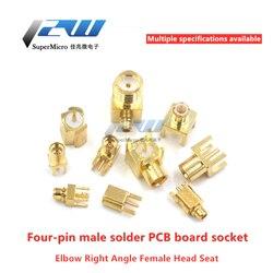 1pcs MCX MMCX KE-KWE-JE-JEF Male / Female Connector Base Right Angle Bent Head Four Feet Solder PCB Socker Adapter