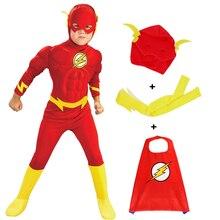 Darmowa wysyłka The Flash mięśni superbohatera przebranie dla dzieci Fantasyly komiks film karnawał Party Halloween sukienka na wakacje do